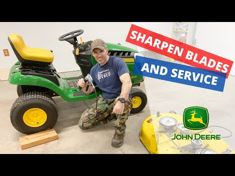 How to Remove/Attach John Deere D140 mower and basic service