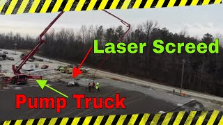 420 yard pour warehouse floor pour with 61 meter pump truck and laser screed #pumptruck #laserscreed