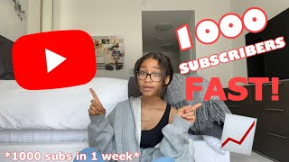 HOW TO GET YOUR FIRST 1000 SUBSCRIBERS ON YOUTUBE FAST!!