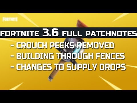Fortnite REMOVING PEEKS? New 3.6 Update PATCH NOTES