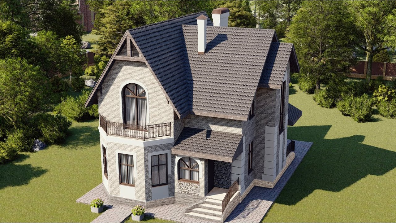 Проект красивого двухэтажного дома с балконом
