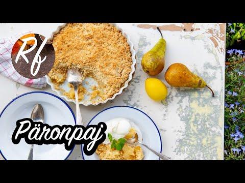 Baka en god päronpaj med smuldeg och servera med vaniljvisp eller hemgjord vaniljsås, vaniljglass eller vispad grädde.>