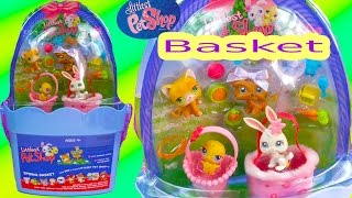 LPS Spring Basket Old Style Bobbleheads Easter Littlest Pet Shop Dog Cat Unboxing Toy Review Video