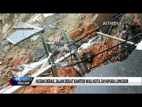 Hujan Deras, Jalan Dekat Kantor Wali Kota Jayapura Longsor