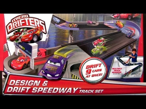 Micro Drifters Design n Drift Speedway Track Playset Race 9 cars at once CARS 2 Disney toys