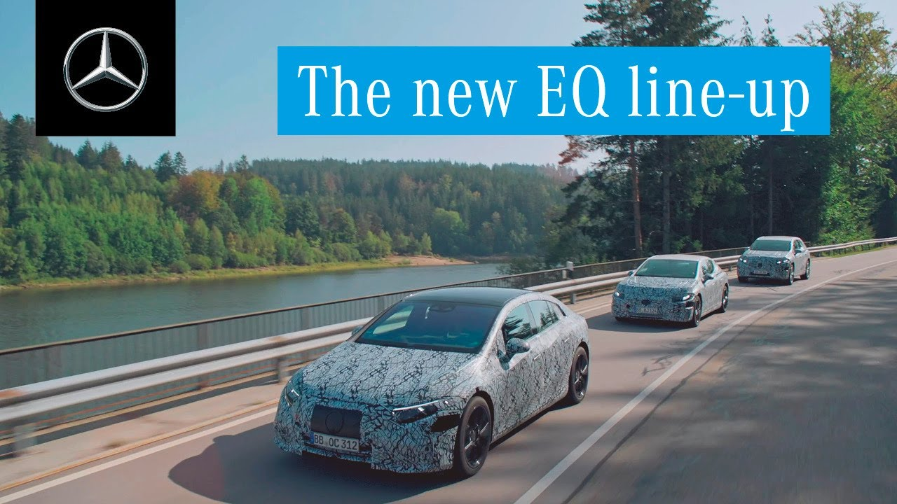Mercedes showcases the EQS sedan, EQS crossover SUV, and EQE sedan