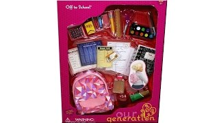 Our Generation Off To School Set Outfit Set 18 Inch Doll Playset Unboxing Review