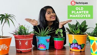 How To Decorate Old Planters Into New   5 DIY Plants Pot Makeover Ideas   Garden Decor Part 1