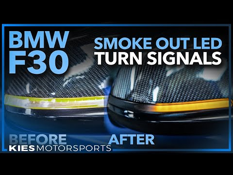 F30 BMW Smoked Out LED Sequential Turn Signal AND DRY CARBON Mirror Cap Install!  Cheap F30 Mod!