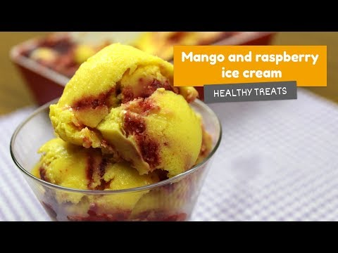 Video recipe: Mango and Raspberry ICE CREAM! • Healthy treats #6