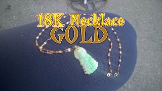 Striking Gold: 18K Gold Necklace and Jade Gold Buddha Pendant
