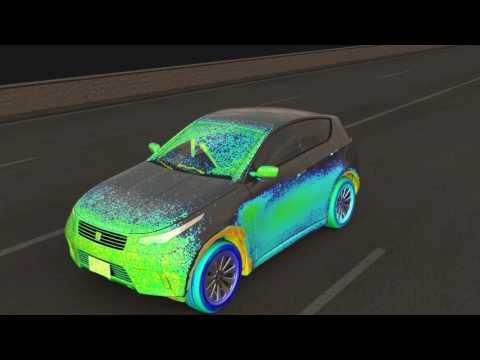 Dieses Video demonstriert die Fähigkeit, ein Fahrzeug im Regen zu simulieren. Der Regen wird vom Referenzrahmen des Fahrzeugs aus gesehen und scheint in Richtung des Autos zu geweht zu werden. Wasser, das von den Reifen aufgenommen wird, wird auch in dieser Simulation berücksichtigt. Die weiße Färbung im Luftstrom zeigt die Konzentration von Wasser in der Luft. Der Wasserfilm auf der Oberfläche wird so gefärbt, dass bestimmt werden kann, inwieweit die Sichtbarkeit behindert ist