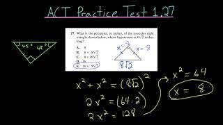ACT Practice Test 1.27: Isosceles Right Triangles