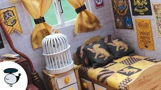 Harry Potter Themed Dollhouse Miniature (Hufflepuff) w/ Lights and Music Box