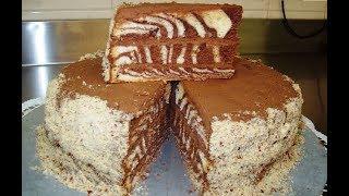 Торт зебра на сметане с кремом. Полосатый торт, простой рецепт