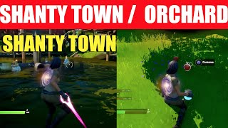 """Apply Shield or Healing at """"Shanty Town"""" or """"The Orchard"""" Locations - Fortnite"""
