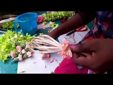 making of orchid flower bridal garland | new and different type of garland making