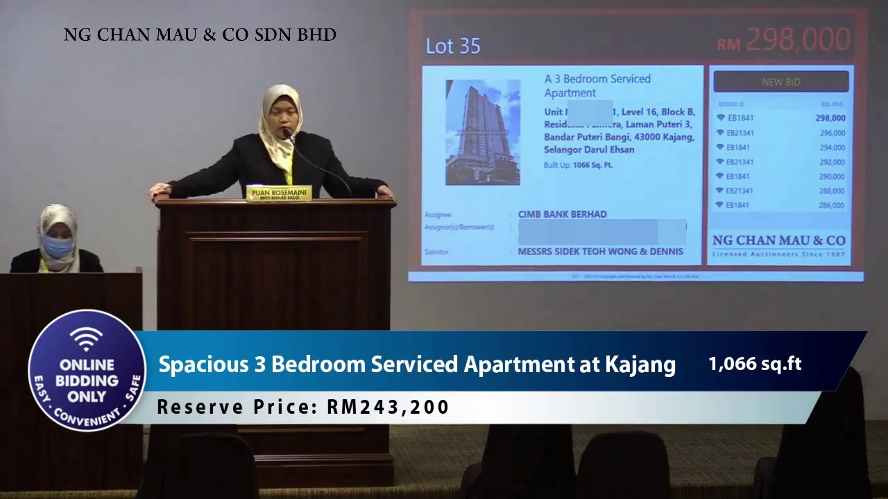 Bid Online to Own a 3 Bedroom Serviced Apartment at Kajang from RM243,200
