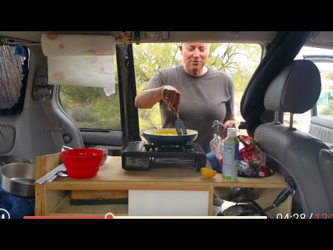 Kelly shows her indoor/outdoor van kitchen and Ultralight in Lake Havasu City - Full time van life