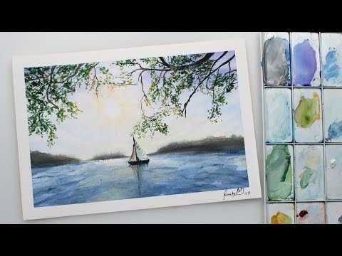 Watercolor sailboat and tree branches in sea sunset painting