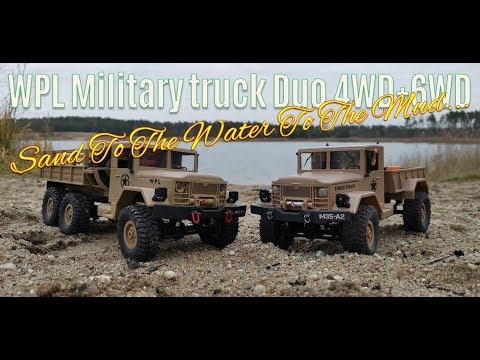 WPL Military Truck Duo 4WD & 6WD Sand & Water Tour #90