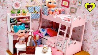 DIY Habitacion en Miniatura con Literas para Muñecas Bebes LOL Sorpresa