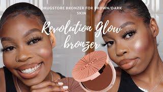DRUGSTORE BRONZER FOR DARK/BROWN SKIN!? | TESTING THE NEW REVOLUTION GLOW BRONZER | FENTY COMPARISON