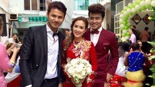 Diễn viên Phương Hằng và ca sĩ Anh Tâm rạng rỡ trong lễ rước dâu