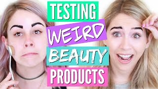 TRYING WEIRD BEAUTY PRODUCTS | PEEL OFF EYEBROWS + MORE! by Eleventh Gorgeous