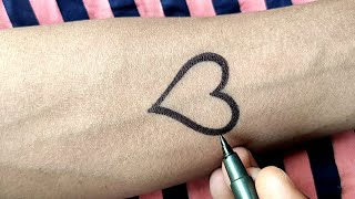 Amazing Heart Tattoo | New Heart ❤️ Tattoo | How To Make Heart Tattoo Design At Home