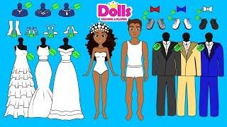 PAPER DOLLS WEDDING SALON QUIET BOOK BRIDE & GROOM DRESS UP
