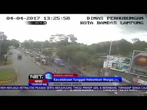 Kecelakaan Tunggal Menabrak Tembok di Lampung Hebohkan Warga - NET12
