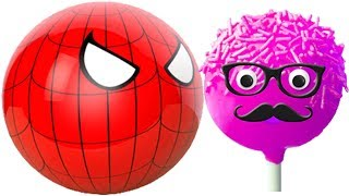 Learning Colors with 3D Pacman Suprise Eggs Spiderman eating lollipops cake pops Painting Cartoons f