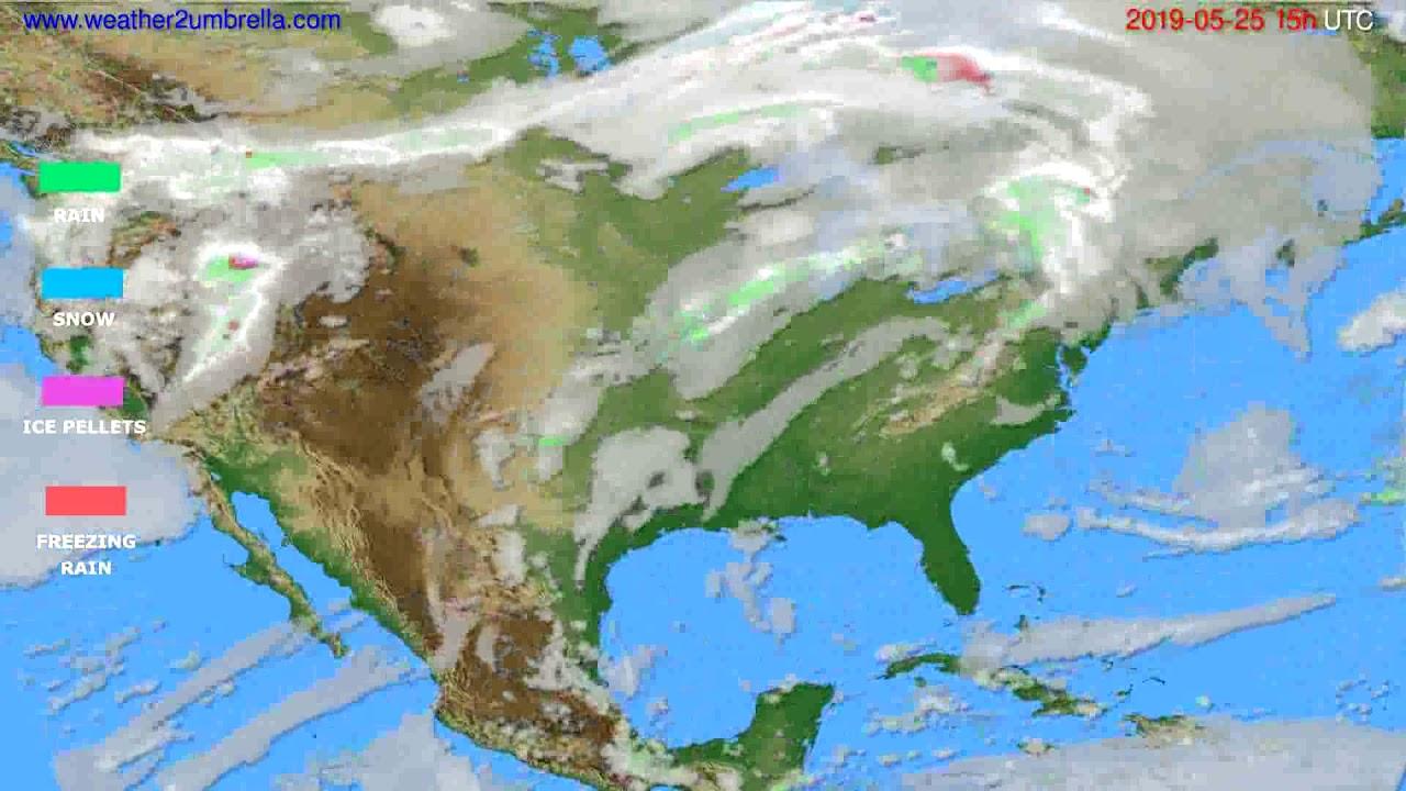 Precipitation forecast USA & Canada // modelrun: 12h UTC 2019-05-22