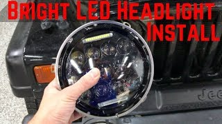 NEW Headlights For The Jeep TJ! Super Bright LED Headlight Install!