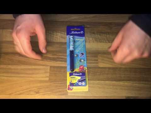 Pelikan 940874 Schulfüller Pelikano Junior, A, blau transluzent unboxing und Anleitung