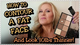 How To Contour A Fat Face & Look Thinner, Sagging Neck & Aging Face Look Younger (time stamp)