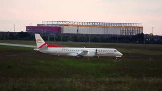 preview picture of video 'Saab 2000 Taking Off at Dusk from Leipzig/Halle Airport (Germany)'