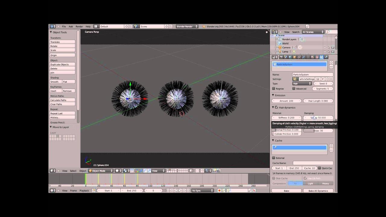 Tuto 2/2 :  Hair dynamics BLENDER 2.6
