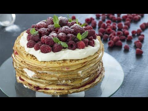 Video White Chocolate Raspberry Crepe Cake Recipe