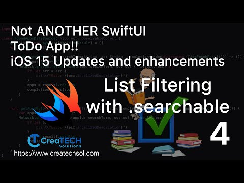 My To Dos SwiftUI app iOS15 update 4 Adding List Filtering with Searchable: thumbnail