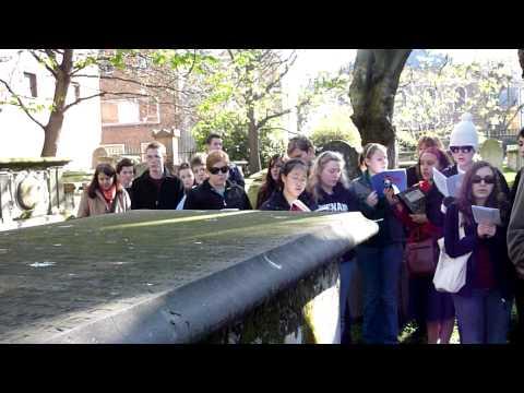 CHS students at Isaac Watts's grave, singing