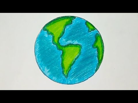How to Draw Easy Colouring Earth Drawing for kids||Save Earth Save Environment Cartoon Drawing 2019