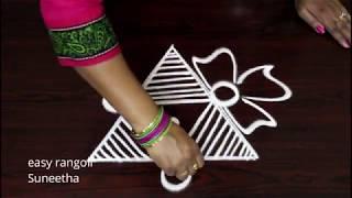 Latest Triangle Kolam Designs With Out Dots      Easy Muggulu By Suneetha   Simple Rangoli Arts