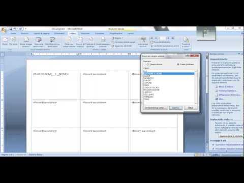Tutorial Microsoft Excel - Stampa Unione con word 2007 con una base di dati excel