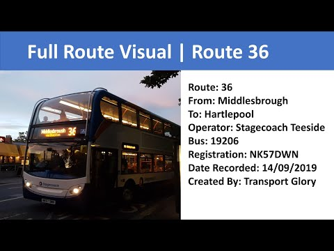 Full Route Visual   Stagecoach Teeside Route 36: Middlesbrough To Hartlepool (NK57DWN/19206)