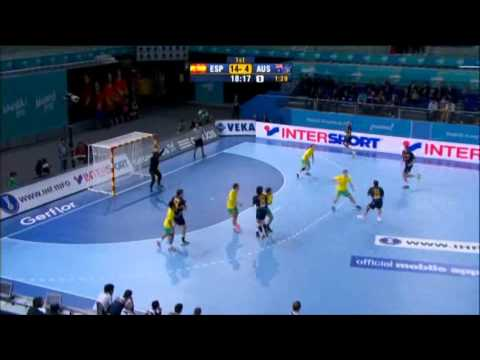 Spain v Australia (Preliminary Rd) handball 2013  Game 3