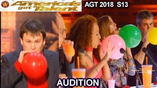 """Hunter Ewen Balloon Blowing  &Simon's Balloon """"Air Out""""  Vote America's Got Talent 2018 Audition AGT"""