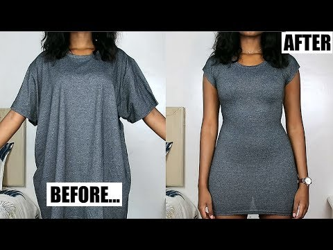 Oversized T-Shirt To Fitted Dress in Minutes!   DIY Clothing Transformations