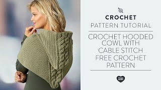 Crochet Cable Stitch And Hooded Cowl    Free Pattern 1